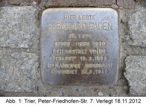 Stolperstein Bernhard Baden: Peter-Friedhofen-Straße, Krankenhaus der Barmherzigen Brüder (Eingangstor), verlegt 18. November 2012