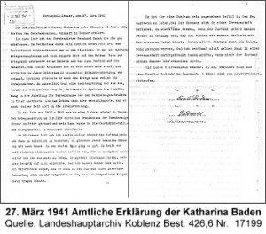 27. März 1941 Amtliche Erklärung der Katharina Baden, Quelle: Landeshauptarchiv Koblenz, Best. 426,6 Nr. 17199