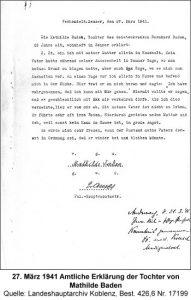 27. März 1941 Amtliche Erklärung der Tochter von Mathilde Baden, Quelle: Landeshauptarchiv Koblenz, Best. 426,6 Nr. 17199