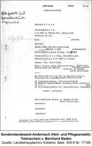 Sonderstandesamt Andernach (Heil- und Pflegeanstalt): Totenschein v. Bernhard Baden, Quelle: Landeshauptarchiv Koblenz, Best. 426,6 Nr. 17199