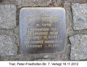 Stolperstein Josef Becker, Trier, Peter-Friedhofen-Str. 7. Verlegt 18.11.2012
