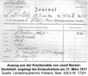 Auszug aus der Krankenakte von Josef Becker: Deckblatt, angelegt bei Erstaufnahme am 31. März 1917 Quelle: Landeshauptarchiv Koblenz, Best. 426,6 Nr. 17201