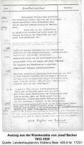 Auszug aus der Krankenakte von Josef Becker 1933-1939, Quelle: Landeshauptarchiv Koblenz Best. 426,6 Nr. 17201