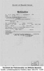 Deckblatt der Patientenakte von Wilhelm Besslich, Quelle: Landeshauptarchiv Koblenz, Best. 426,6 Nr. 17244