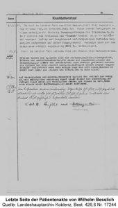 Letzte Seite der Patientenakte von Wilhelm Besslich, Quelle: Landeshauptarchiv Koblenz, Best. 426,6 Nr. 17244