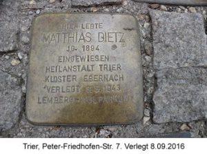 Stolperstein Matthias Dietz, Trier, Peter-Friedhofen-Str. 7, Verlegt 08.09.2016