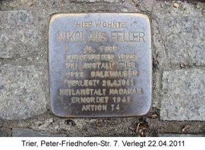 Stolperstein Nikolaus Feller, Trier, Peter-Friedhofen-Str. 7, Verlegt 22.04.2011