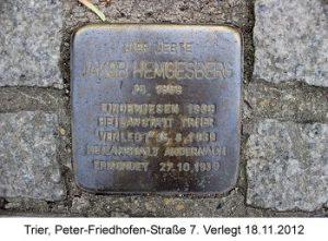 Stolperstein Jakob Hemgesberg, Trier, Peter-Friedhofen-Straße 7, Verlegt 18.11.012