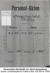 Personalakte (Deckblatt) von Jakob Hemgesberg Quelle: Landeshauptarchiv Koblenz Best. 426.006 Nr. 5656