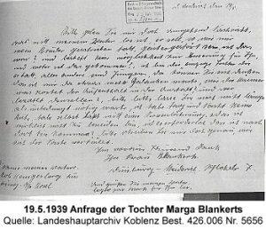 19.5.1939 Anfrage der Tochter Marga Blankerts, Quelle: Landeshauptarchiv Koblenz Best. 426.006 Nr. 5656