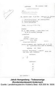 Jakob Hemgesberg - Todesanzeige (Sonderstandesamt) Andernach, Quelle: Landeshauptarchiv Koblenz Best. 426.006 Nr. 5656