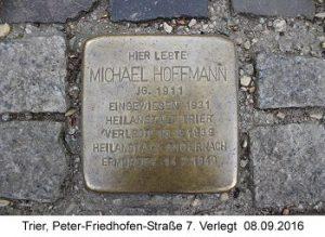 Stolperstein Michael Hoffmann,Trier, Peter-Friedhofen-Straße 7, Verlegt  08.09.2016