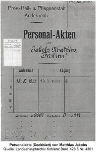 Personalakte (Deckblatt) von Matthias Jakobs, Quelle: Landeshauptarchiv Koblenz Best. 426,6 Nr. 4301