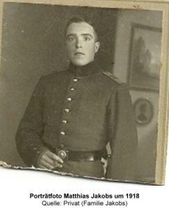 Porträtfoto Matthias Jakobs um 1918, Quelle: Privat (Familie Jakobs)