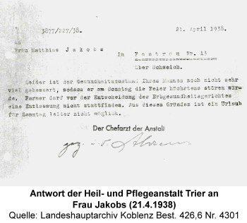 Antwort der Heil- und Pflegeanstalt Trier an Frau Jakobs (21.4.1938), Quelle: Landeshauptarchiv Koblenz Best. 426,6 Nr. 4301