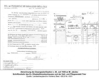 Abrechnung der Zwangssterilisation v. 26. Juli 1938 an M. Jakobs: Schriftverkehr des Ev. Elisabethkrankenhauses und der Heil- und Pflegeanstalt Trier. Quelle: Landeshauptarchiv Koblenz Best. 426,6 Nr. 4301