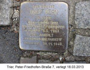 Stolperstein Josef Kern, Trier, Peter-Friedhofen-Straße 7, verlegt 18.03.2013