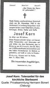 Josef Kern: Totenzettel für das kirchliche Sterbeamt, Quelle: Privatsammlung Hermann Bonert (Osburg)