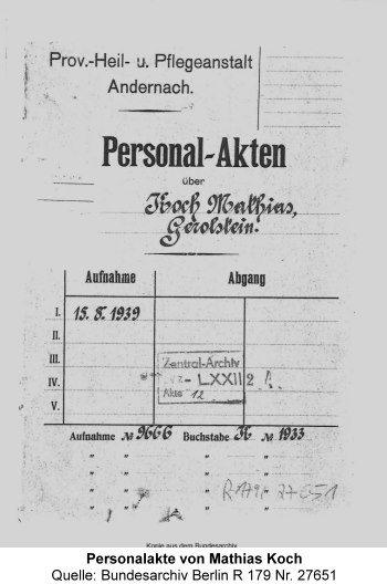 Deckblatt Personalakte von Mathias Koch, Quelle: Bundesarchiv Berlin R 179 Nr. 27651