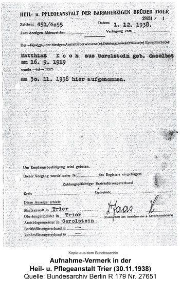Aufnahme-Vermerk der Heil- u. Pflegeanstalt Trier (30.11.1938), Quelle: Bundesarchiv Berlin R 179 Nr. 27651