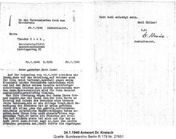 24.1.1940 Antwort Dr. Kreisch, Quelle: Bundesarchiv Berlin R 179 Nr. 27651
