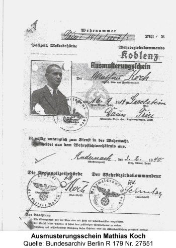 Ausmusterungsschein Mathias Koch, Quelle: Bundesarchiv Berlin R 179 Nr. 27651