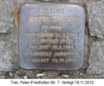 Stolperstein Lorenz Koster, Trier, Peter-Friedhofen-Str. 7, verlegt 18.11.2012