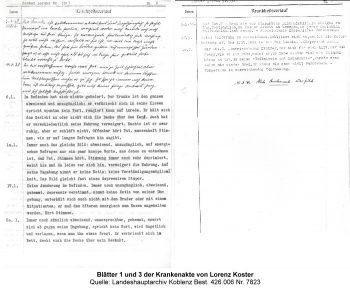 Blätter 1 und 3 der Krankenakte von Lorenz Koster, Quelle: Landeshauptarchiv Koblenz Best. 426.006 Nr. 7823