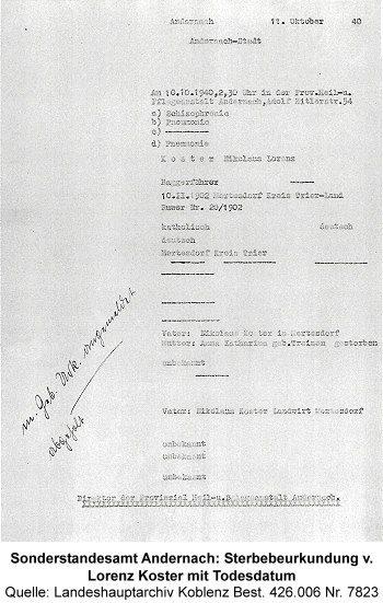 Sonderstandesamt Andernach: Sterbebeurkundung v. Lorenz Koster mit Todesdatum, Quelle: Landeshauptarchiv Koblenz Best. 426.006 Nr. 7823