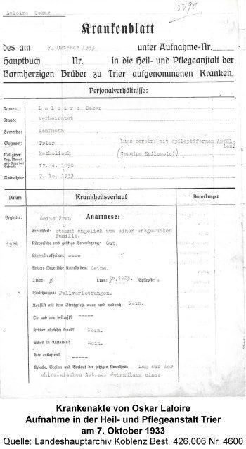 Krankenakte von Oskar Laloire, Aufnahme in der Heil- und Pflegeanstalt Trier am 7. Oktober 1933, Quelle: Landeshauptarchiv Koblenz Best. 426.006 Nr. 4600