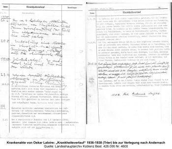 """Krankenakte von Oskar Laloire: """"Krankheitsverlauf"""" 1936-1938 (Trier) bis zur Verlegung nach Andernach, Quelle: Landeshauptarchiv Koblenz Best. 426.006 Nr. 4600"""