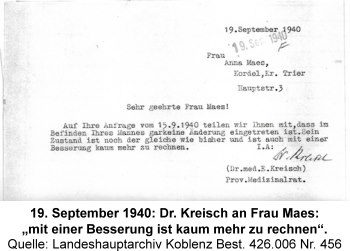 """19. September 1940: Dr. Kreisch an Frau Maes: """"mit einer Besserung ist kaum mehr zu rechnen"""". Quelle: Landeshauptarchiv Koblenz Best. 426.006 Nr. 456"""
