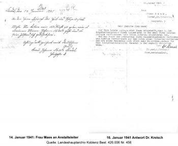 14. Januar 1941: Frau Maes an Anstaltsleiter und 16. Januar 1941 Antwort Dr. Kreisch, Quelle: Landeshauptarchiv Koblenz Best. 426.006 Nr. 456