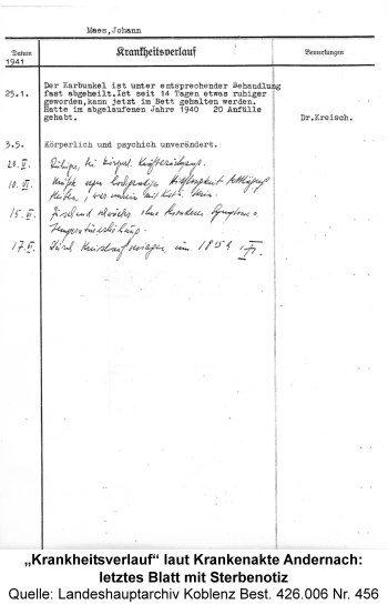 """""""Krankheitsverlauf"""" laut Krankenakte Andernach: letztes Blatt mit Sterbenotiz, Quelle: Landeshauptarchiv Koblenz Best. 426.006 Nr. 456"""