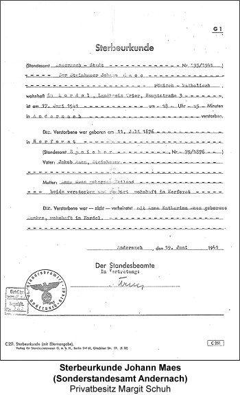 Sterbeurkunde Johann Maes (Sonderstandesamt Andernach), Privatbesitz Margit Schuh