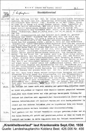 """Krankheitsverlauf"" laut Krankenakte Sept./Okt. 1938, Quelle: Landeshauptarchiv Koblenz Best. 426.006 Nr. 456"