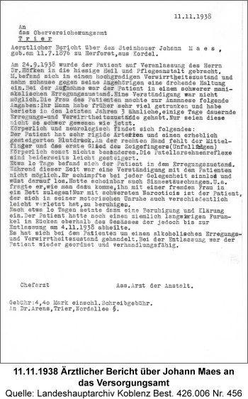 11.11.1938 Ärztlicher Bericht über Johann Maes an das Versorgungsamt, Quelle: Landeshauptarchiv Koblenz Best. 426.006 Nr. 456