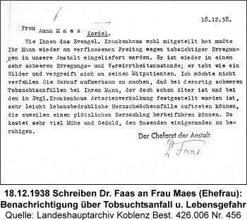 18.12.1938 Schreiben Dr. Faas an Frau Maes (Ehefrau): Benachrichtigung über Tobsuchtsanfall u. Lebensgefahr, Quelle: Landeshauptarchiv Koblenz Best. 426.006 Nr. 456