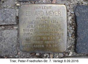 Stolperstein Eduard Meyer, Trier, Peter-Friedhofen-Str. 7, Verlegt 8.09.2016