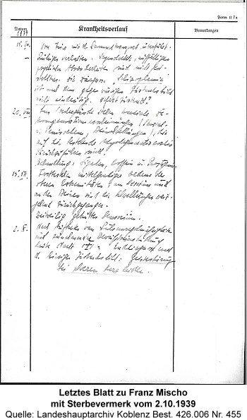 Letztes Blatt mit Sterbevermerk vom 2.10.1939, Quelle: Landeshauptarchiv Koblenz Best. Koblenz Best. 426.006 Nr. 455
