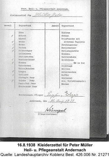 16.8.1938  Kleiderzettel für Peter Müller Heil- u. Pflegeanstalt Andernach, Quelle: Landeshauptarchiv Koblenz Best. 426.006 Nr. 21271