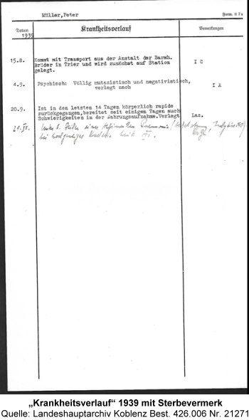 """""""Krankheitsverlauf"""" 1939 mit Sterbevermerk, Quelle: Landeshauptarchiv Koblenz Best. 426.006 Nr. 21271"""