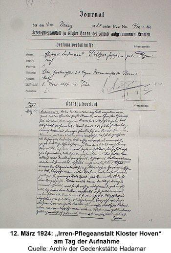 """12. März 1924: """"Irren-Pflegeanstalt Kloster Hoven"""" am Tag der Aufnahme"""