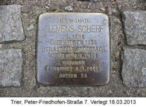 Stolperstein Clemens Scherf, Trier, Peter-Friedhofen-Straße 7, Verlegt 18.03.2013