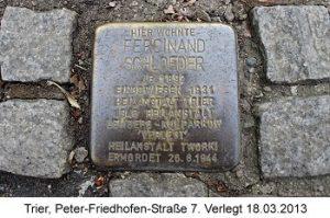 Stolperstein Ferdinand Schloeder, Trier, Peter-Friedhofen-Straße 7, Verlegt 18.03.2013