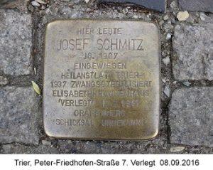 Stolperstein Josef Schmitz, Trier, Peter-Friedhofen-Straße 7, Verlegt  08.09.2016