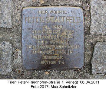 Stolperstein Peter Stadtfeld, Trier, Peter-Friedhofen-Straße 7. Verlegt 06.04.2011