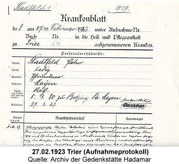 Krankenakte (Auszug): 27. Februar 1923 (Aufnahme Trier)