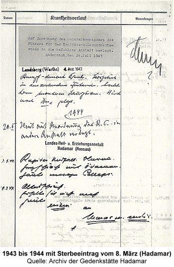 Krankenakte (Auszug): 08. März 1944 Sterbeeintrag