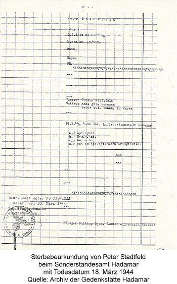 Sterbebeurkundung von Peter Stadtfeld beim Sonderstandesamt Hadamar mit Todesdatum 18. März 1944, Quelle: Archiv der Gedenkstätte Hadamar